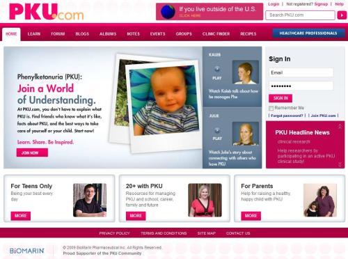 PKU.com screenshot , Phenylketonuria, BioMarin