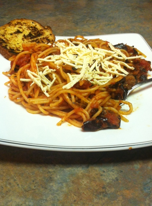 Garlic Roasted Eggplant Spaghetti Sauce, Low-protein, PKU Recipes, PKU Cooking, Phenylketonuria