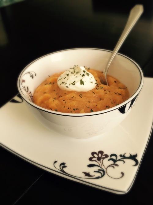 Roasted Butternut Squash and Sweet Potato Bisque Soup